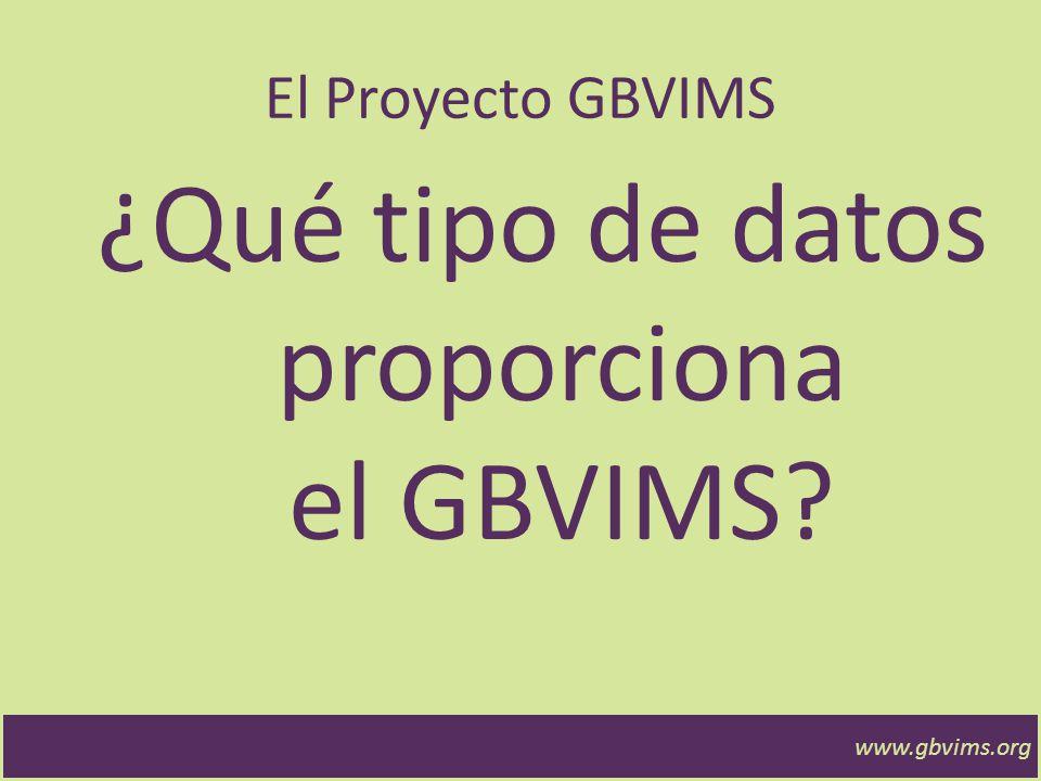 www.gbvims.org El Proyecto GBVIMS ¿Qué tipo de datos proporciona el GBVIMS?