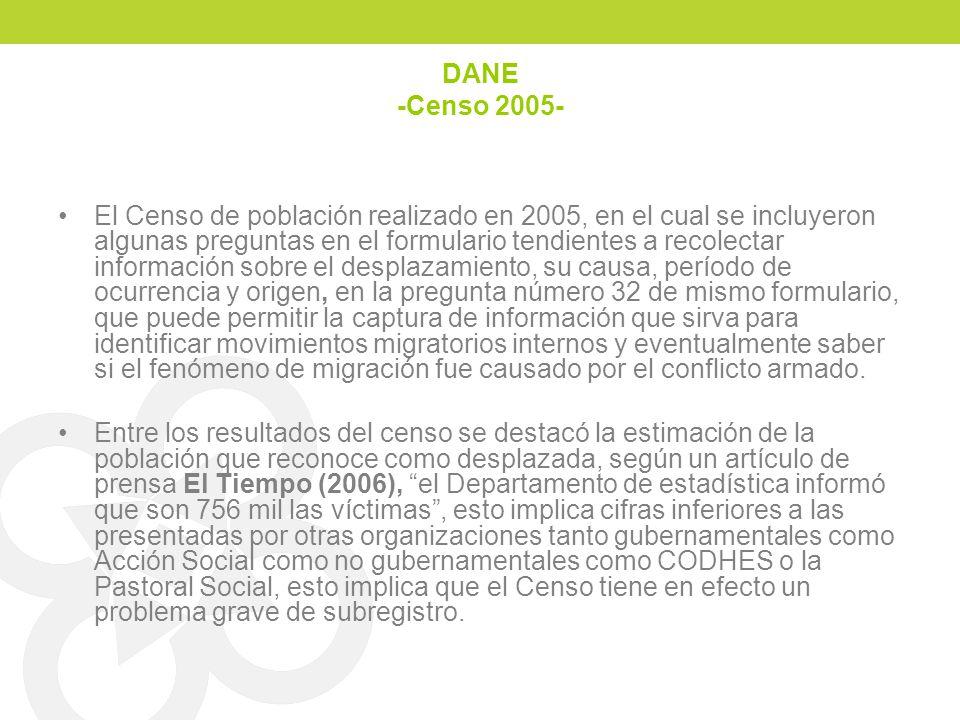 DANE -Censo 2005- El Censo de población realizado en 2005, en el cual se incluyeron algunas preguntas en el formulario tendientes a recolectar informa