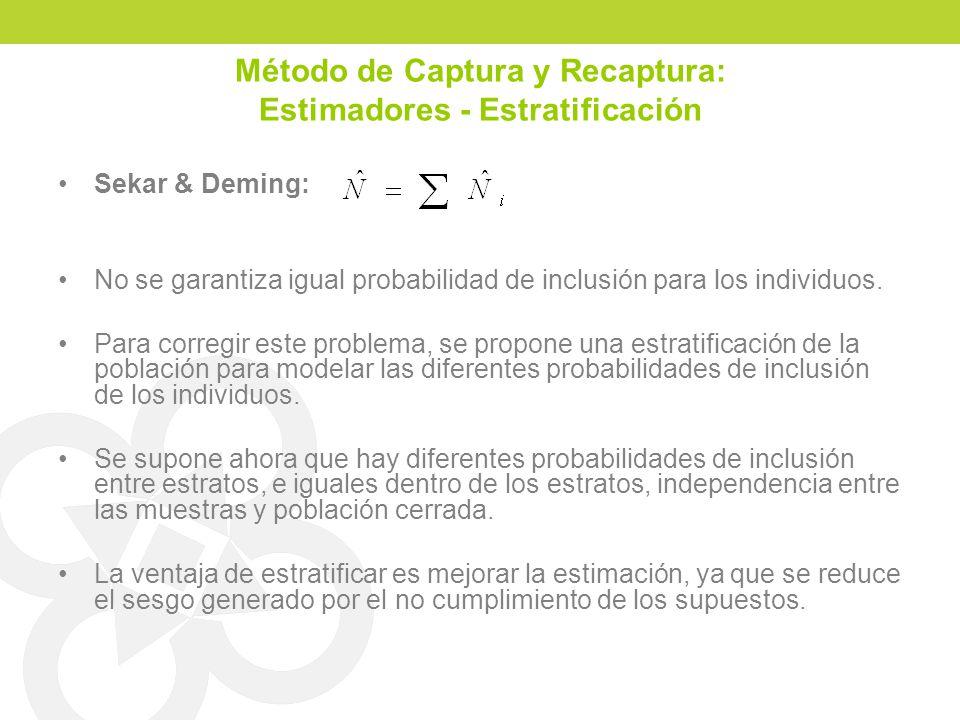 Método de Captura y Recaptura: Estimadores - Estratificación Sekar & Deming: No se garantiza igual probabilidad de inclusión para los individuos. Para