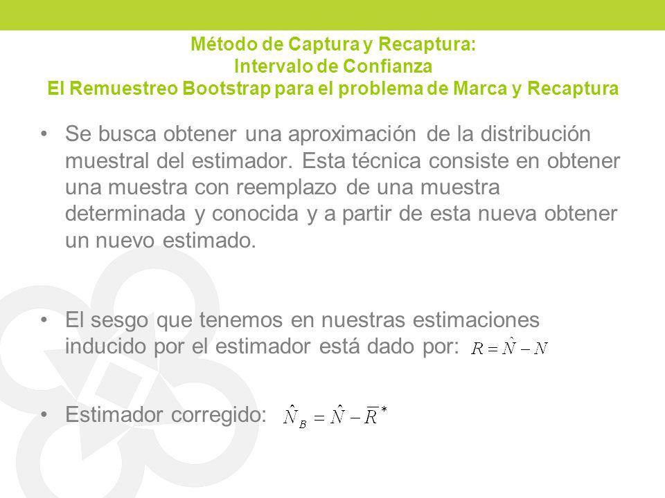 Método de Captura y Recaptura: Intervalo de Confianza El Remuestreo Bootstrap para el problema de Marca y Recaptura Se busca obtener una aproximación de la distribución muestral del estimador.