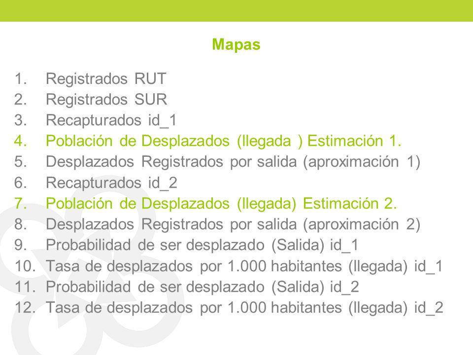 Mapas 1.Registrados RUT 2.Registrados SUR 3.Recapturados id_1 4.Población de Desplazados (llegada ) Estimación 1. 5.Desplazados Registrados por salida