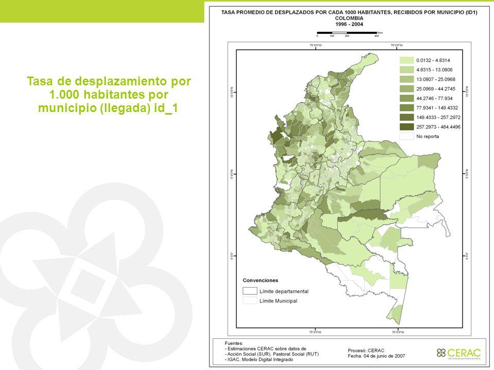 Tasa de desplazamiento por 1.000 habitantes por municipio (llegada) id_1
