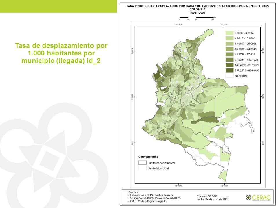 Tasa de desplazamiento por 1.000 habitantes por municipio (llegada) id_2