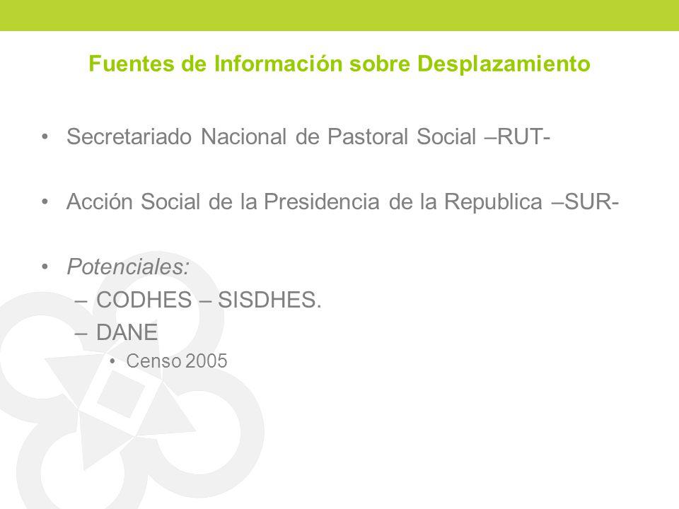 Fuentes de Información sobre Desplazamiento Secretariado Nacional de Pastoral Social –RUT- Acción Social de la Presidencia de la Republica –SUR- Potenciales: –CODHES – SISDHES.