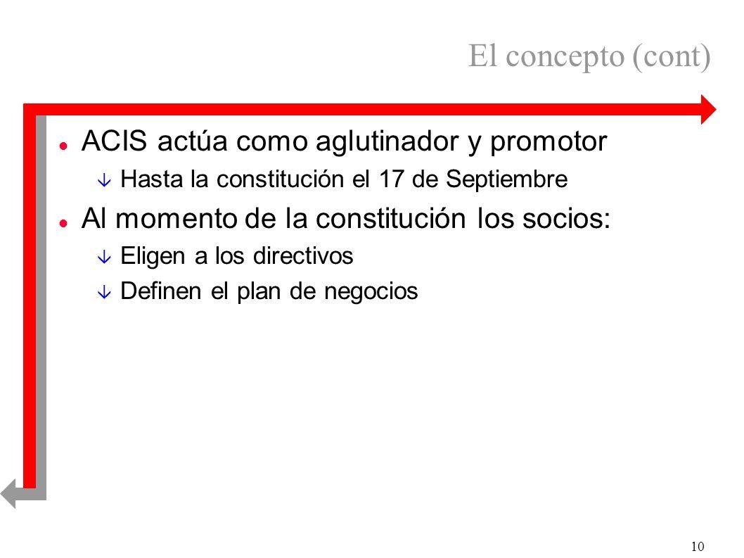 10 El concepto (cont) l ACIS actúa como aglutinador y promotor â Hasta la constitución el 17 de Septiembre l Al momento de la constitución los socios: â Eligen a los directivos â Definen el plan de negocios