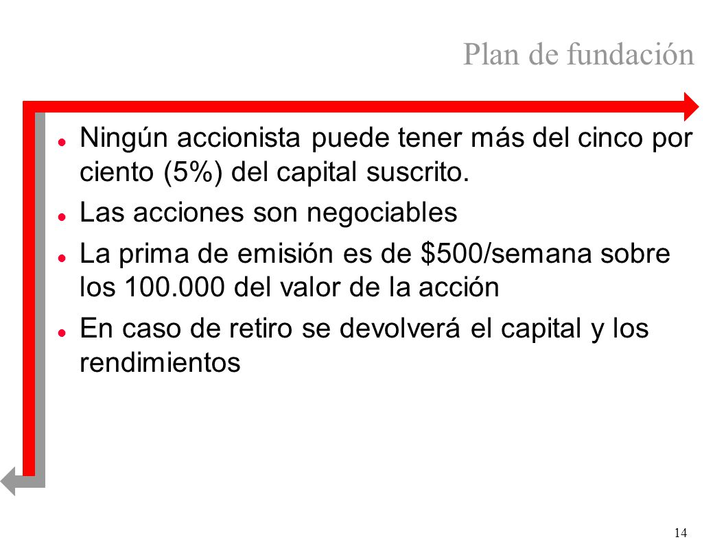 14 Plan de fundación l Ningún accionista puede tener más del cinco por ciento (5%) del capital suscrito. l Las acciones son negociables l La prima de