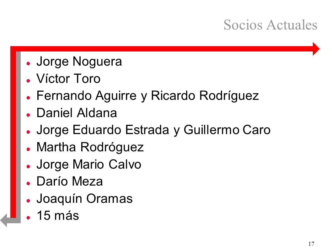 17 Socios Actuales l Jorge Noguera l Víctor Toro l Fernando Aguirre y Ricardo Rodríguez l Daniel Aldana l Jorge Eduardo Estrada y Guillermo Caro l Mar