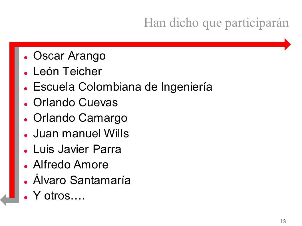18 Han dicho que participarán l Oscar Arango l León Teicher l Escuela Colombiana de Ingeniería l Orlando Cuevas l Orlando Camargo l Juan manuel Wills