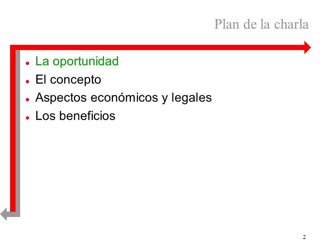 2 Plan de la charla l La oportunidad l El concepto l Aspectos económicos y legales l Los beneficios