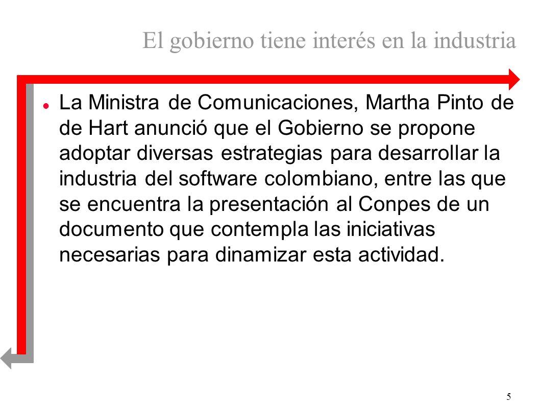 5 El gobierno tiene interés en la industria l La Ministra de Comunicaciones, Martha Pinto de de Hart anunció que el Gobierno se propone adoptar diversas estrategias para desarrollar la industria del software colombiano, entre las que se encuentra la presentación al Conpes de un documento que contempla las iniciativas necesarias para dinamizar esta actividad.