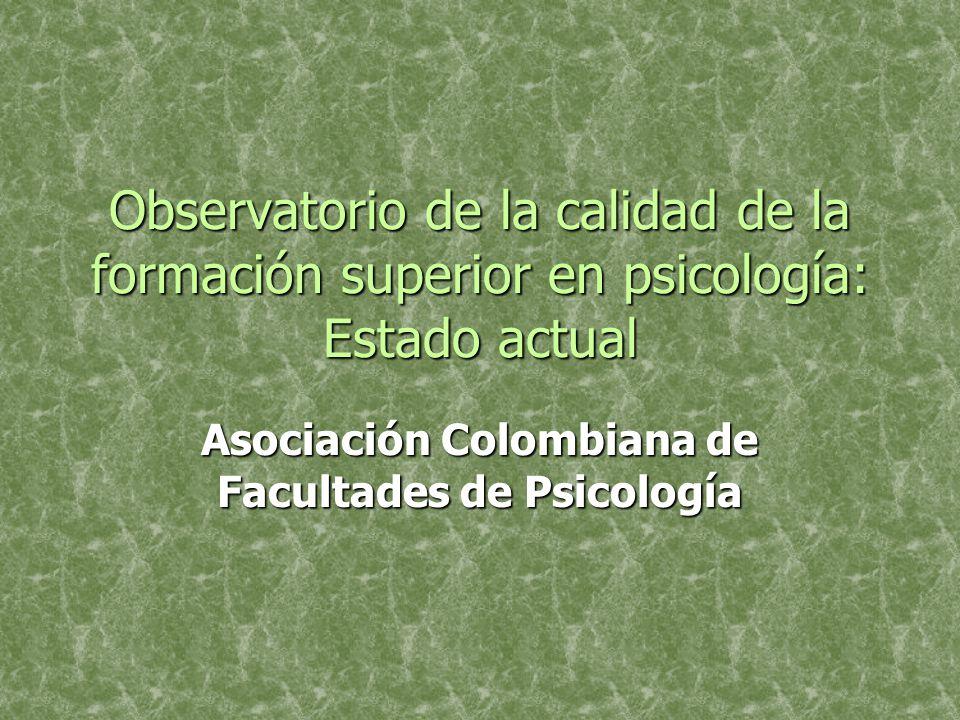 Observatorio de la calidad de la formación superior en psicología: Estado actual Asociación Colombiana de Facultades de Psicología