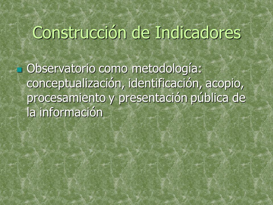 Construcción de Indicadores Observatorio como metodología: conceptualización, identificación, acopio, procesamiento y presentación pública de la información Observatorio como metodología: conceptualización, identificación, acopio, procesamiento y presentación pública de la información
