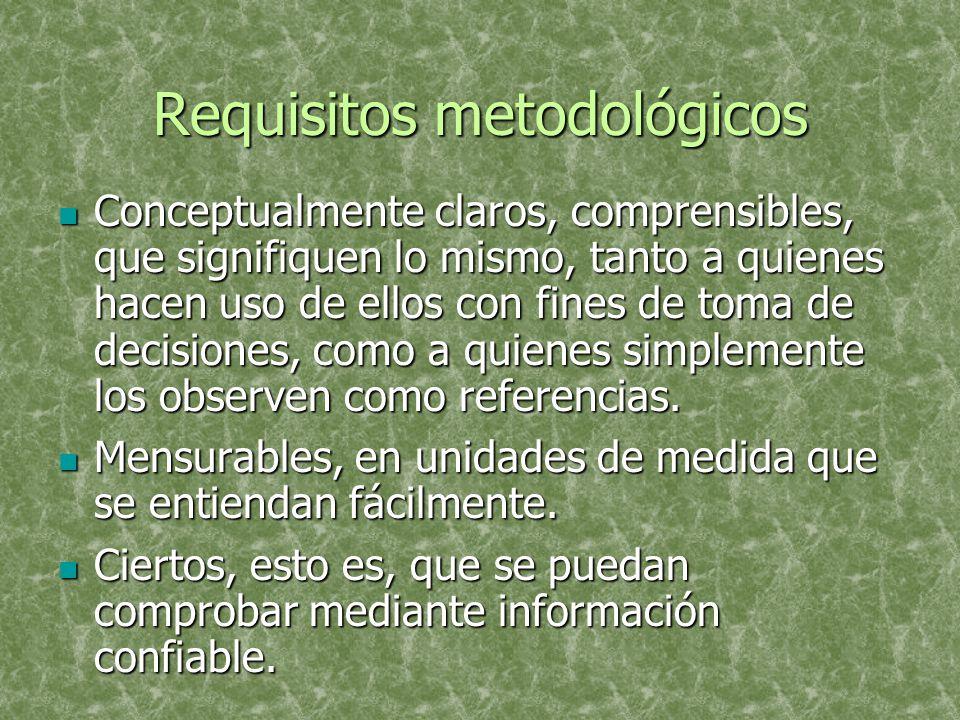 Requisitos metodológicos Conceptualmente claros, comprensibles, que signifiquen lo mismo, tanto a quienes hacen uso de ellos con fines de toma de decisiones, como a quienes simplemente los observen como referencias.