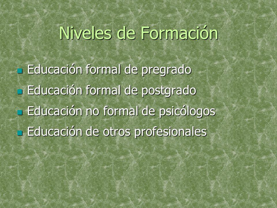 Niveles de Formación Educación formal de pregrado Educación formal de pregrado Educación formal de postgrado Educación formal de postgrado Educación no formal de psicólogos Educación no formal de psicólogos Educación de otros profesionales Educación de otros profesionales