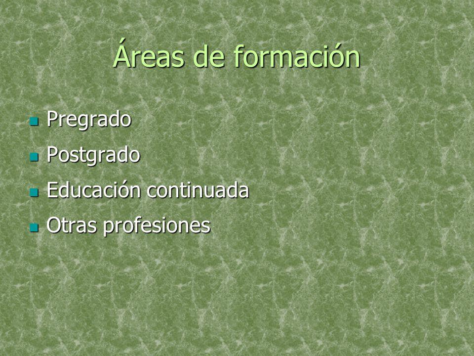 Áreas de formación Pregrado Pregrado Postgrado Postgrado Educación continuada Educación continuada Otras profesiones Otras profesiones