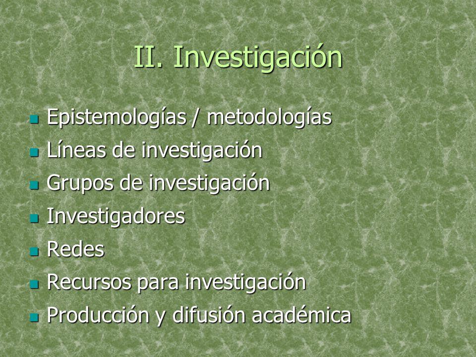 II. Investigación Epistemologías / metodologías Epistemologías / metodologías Líneas de investigación Líneas de investigación Grupos de investigación