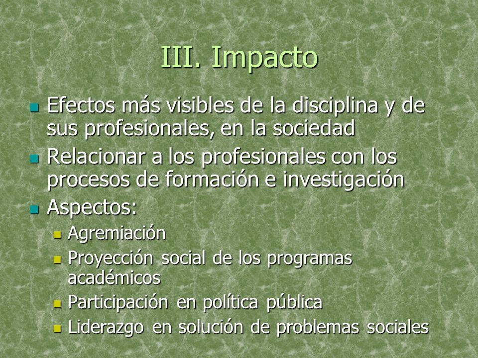 III. Impacto Efectos más visibles de la disciplina y de sus profesionales, en la sociedad Efectos más visibles de la disciplina y de sus profesionales