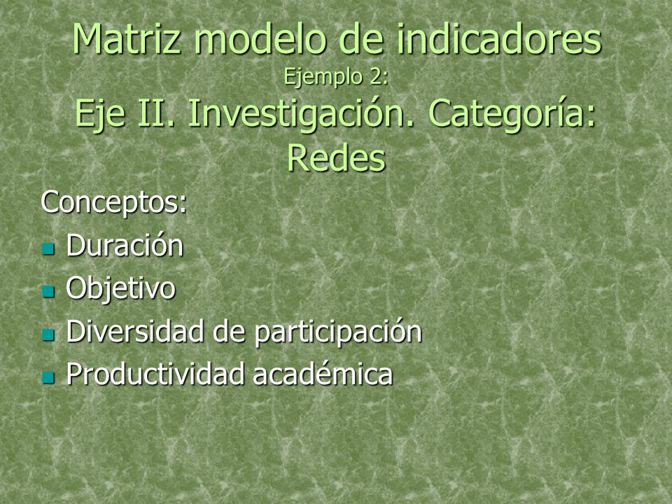 Matriz modelo de indicadores Ejemplo 2: Eje II. Investigación.