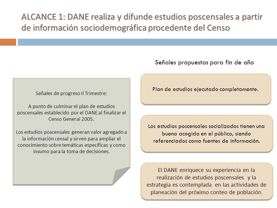 ALCANCE 6: El DANE adelanta estudios sociodemográficos con perspectiva de género, orientados a permitir el seguimiento a los objetivos del milenio, a partir de la información procedente de encuestas a hogares (Encuesta de Calidad de Vida y Gran Encuesta Integrada) Ejecución financiera: 0% Ejecución actual: 34% Recursos comprometidos: Actividad 2: Realizar una evaluación de la capacidad de las encuestas para producir información básica sobre objetivos de milenio y sugerir ajustes para mejorar la disponibilidad de información.