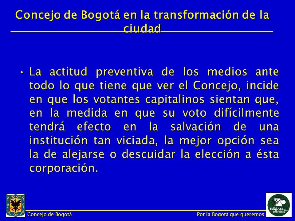 Concejo de Bogotá Por la Bogotá que queremos La actitud preventiva de los medios ante todo lo que tiene que ver el Concejo, incide en que los votantes capitalinos sientan que, en la medida en que su voto difícilmente tendrá efecto en la salvación de una institución tan viciada, la mejor opción sea la de alejarse o descuidar la elección a ésta corporación.La actitud preventiva de los medios ante todo lo que tiene que ver el Concejo, incide en que los votantes capitalinos sientan que, en la medida en que su voto difícilmente tendrá efecto en la salvación de una institución tan viciada, la mejor opción sea la de alejarse o descuidar la elección a ésta corporación.