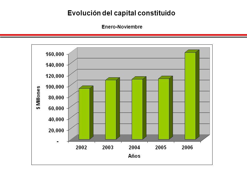 Evolución del capital constituido Enero-Noviembre