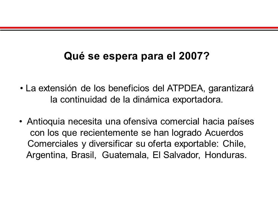 Qué se espera para el 2007? La extensión de los beneficios del ATPDEA, garantizará la continuidad de la dinámica exportadora. Antioquia necesita una o