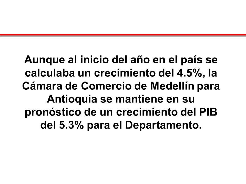 Aunque al inicio del año en el país se calculaba un crecimiento del 4.5%, la Cámara de Comercio de Medellín para Antioquia se mantiene en su pronóstic