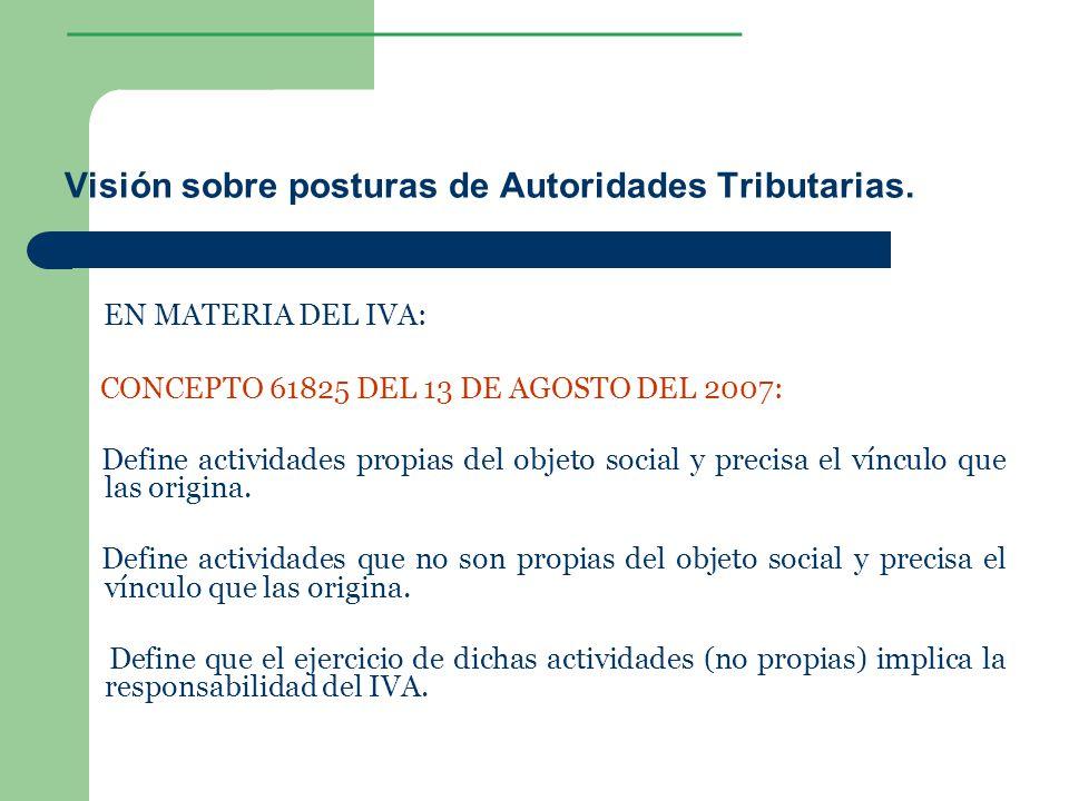 ________________ Visión sobre posturas de Autoridades Tributarias. EN MATERIA DEL IVA: CONCEPTO 61825 DEL 13 DE AGOSTO DEL 2007: Define actividades pr
