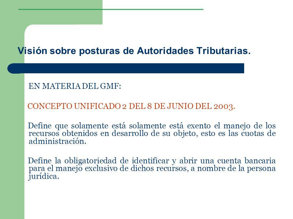 ________________ Visión sobre posturas de Autoridades Tributarias. EN MATERIA DEL GMF: CONCEPTO UNIFICADO 2 DEL 8 DE JUNIO DEL 2003. Define que solame