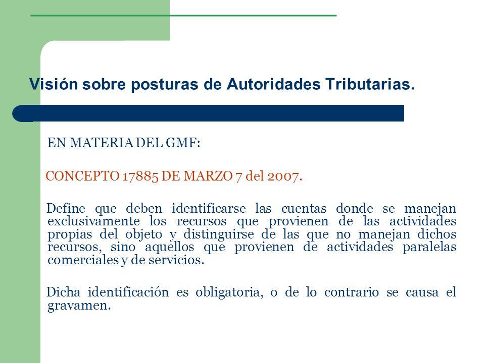 ________________ Visión sobre posturas de Autoridades Tributarias. EN MATERIA DEL GMF: CONCEPTO 17885 DE MARZO 7 del 2007. Define que deben identifica