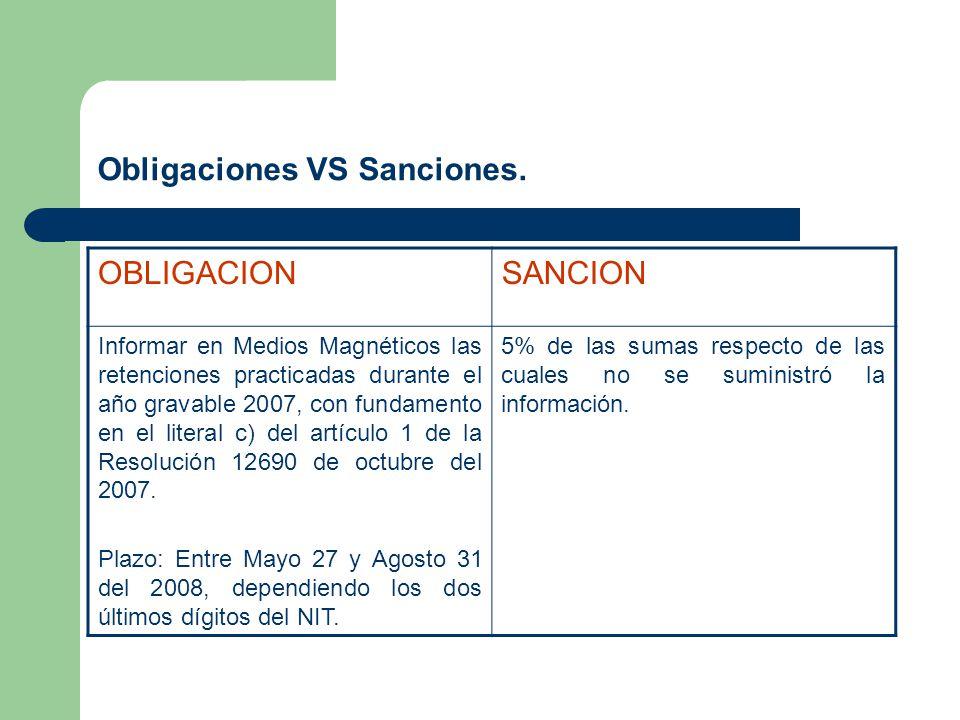 Obligaciones VS Sanciones. OBLIGACIONSANCION Informar en Medios Magnéticos las retenciones practicadas durante el año gravable 2007, con fundamento en