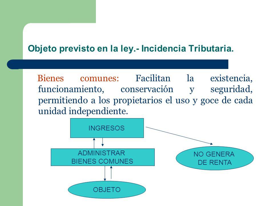Objeto previsto en la ley.- Incidencia Tributaria. Bienes comunes: Facilitan la existencia, funcionamiento, conservación y seguridad, permitiendo a lo