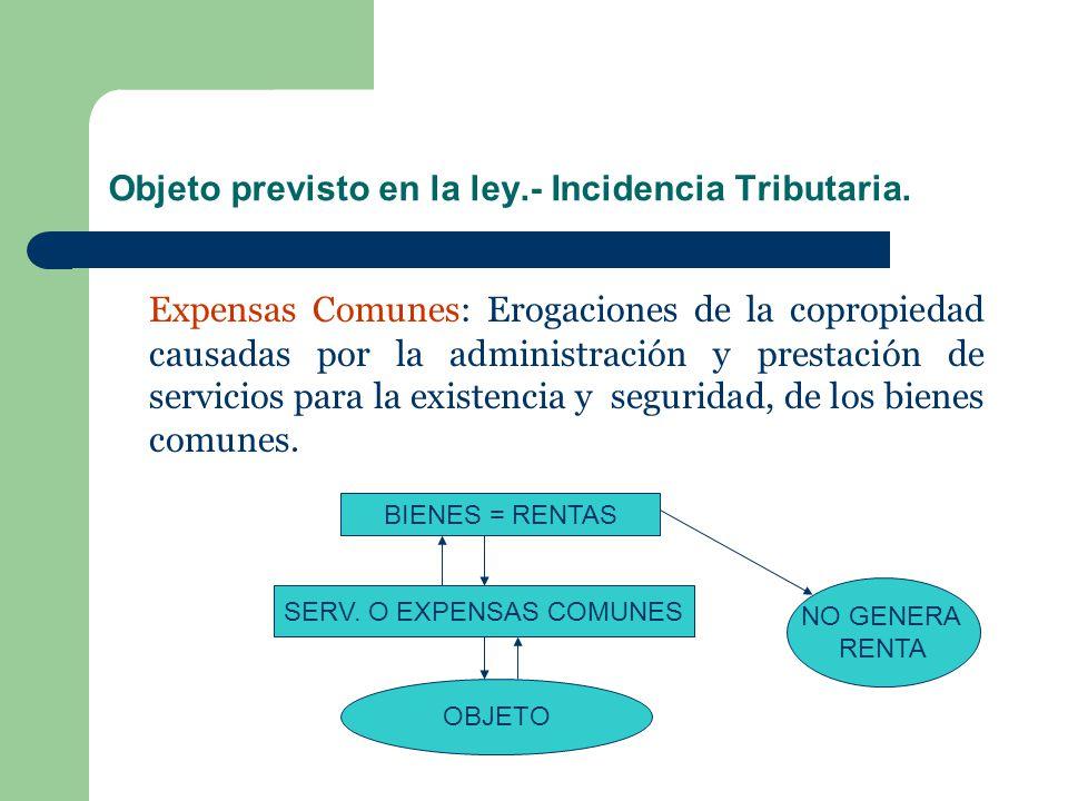 Objeto previsto en la ley.- Incidencia Tributaria. Expensas Comunes: Erogaciones de la copropiedad causadas por la administración y prestación de serv