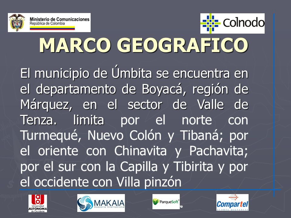 El municipio de Úmbita se encuentra en el departamento de Boyacá, región de Márquez, en el sector de Valle de Tenza. limita El municipio de Úmbita se