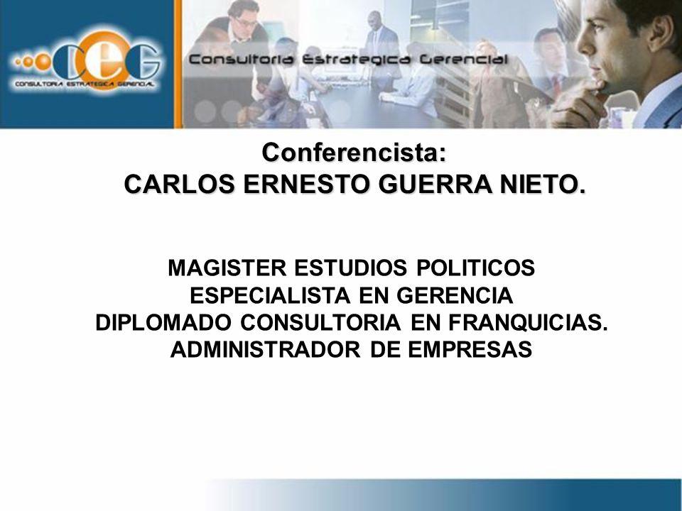 Conferencista: MAGISTER ESTUDIOS POLITICOS ESPECIALISTA EN GERENCIA DIPLOMADO CONSULTORIA EN FRANQUICIAS. ADMINISTRADOR DE EMPRESAS