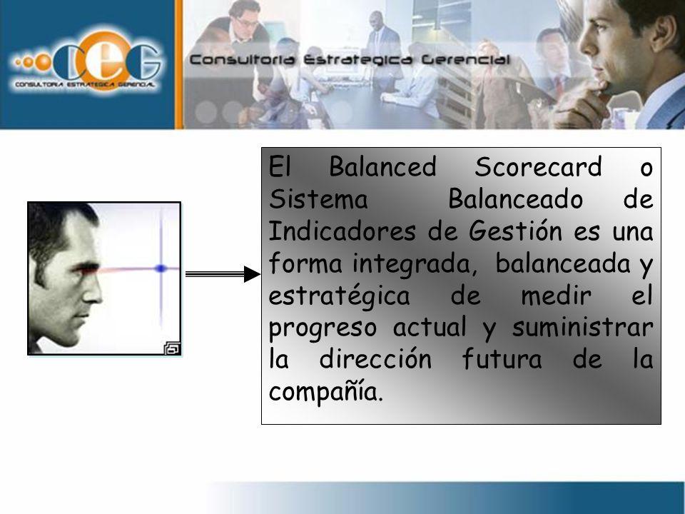 El Balanced Scorecard o Sistema Balanceado de Indicadores de Gestión es una forma integrada, balanceada y estratégica de medir el progreso actual y su