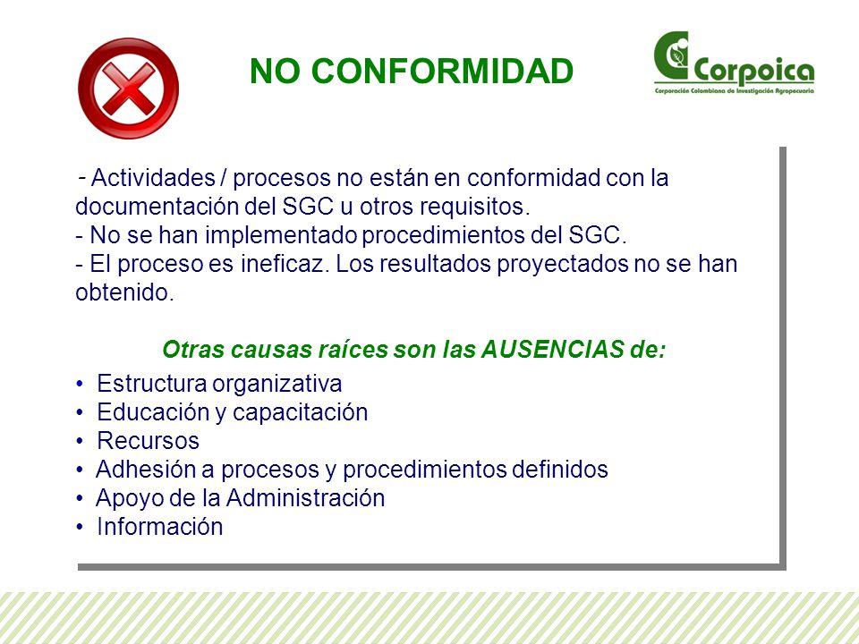 - Actividades / procesos no están en conformidad con la documentación del SGC u otros requisitos.