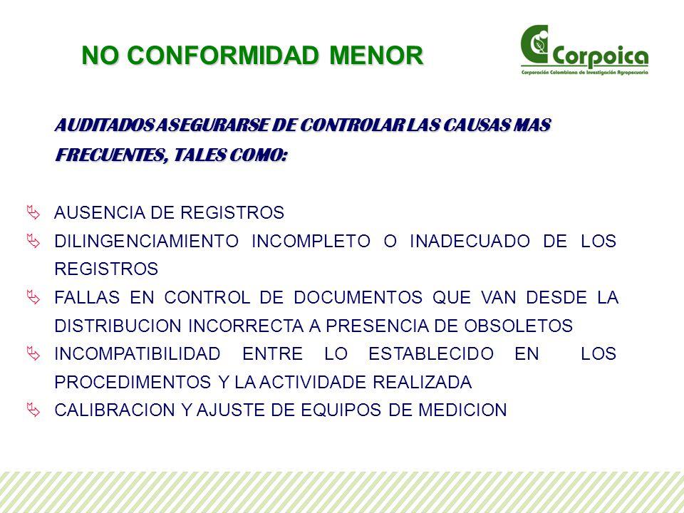 AUDITADOS ASEGURARSE DE CONTROLAR LAS CAUSAS MAS FRECUENTES, TALES COMO: AUSENCIA DE REGISTROS DILINGENCIAMIENTO INCOMPLETO O INADECUADO DE LOS REGISTROS FALLAS EN CONTROL DE DOCUMENTOS QUE VAN DESDE LA DISTRIBUCION INCORRECTA A PRESENCIA DE OBSOLETOS INCOMPATIBILIDAD ENTRE LO ESTABLECIDO EN LOS PROCEDIMENTOS Y LA ACTIVIDADE REALIZADA CALIBRACION Y AJUSTE DE EQUIPOS DE MEDICION NO CONFORMIDAD MENOR