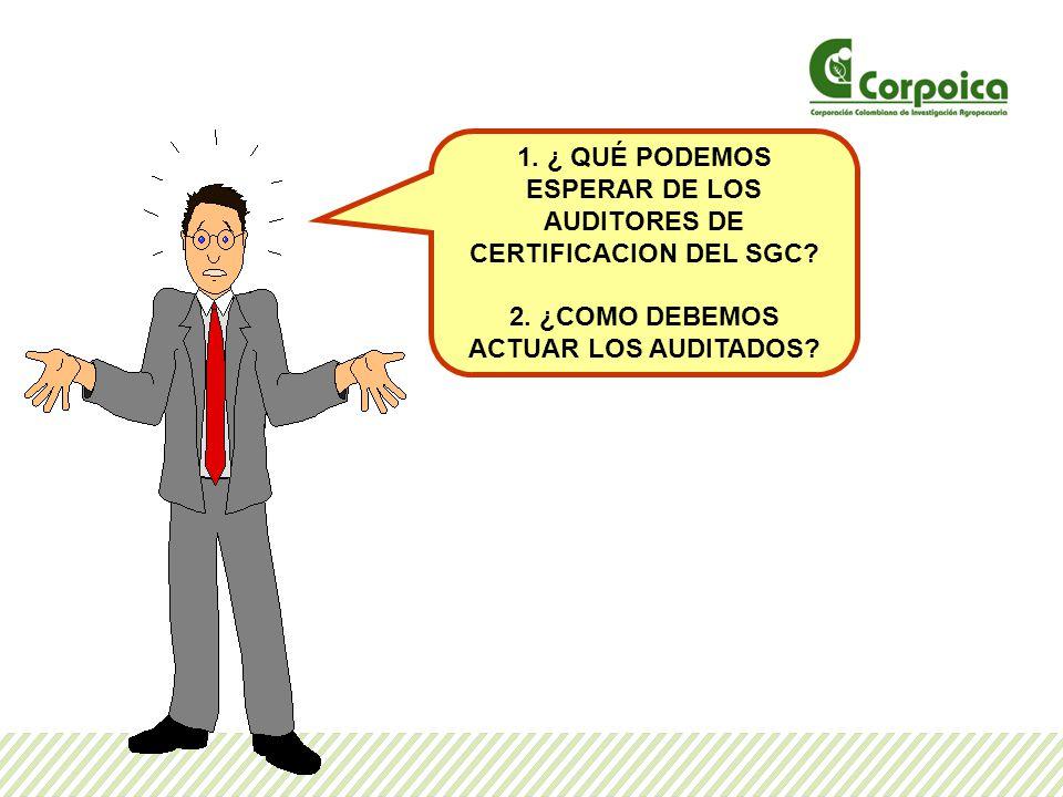 1.¿ QUÉ PODEMOS ESPERAR DE LOS AUDITORES DE CERTIFICACION DEL SGC.