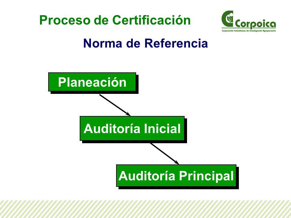 Norma de Referencia Planeación Auditoría Principal Auditoría Inicial Proceso de Certificación