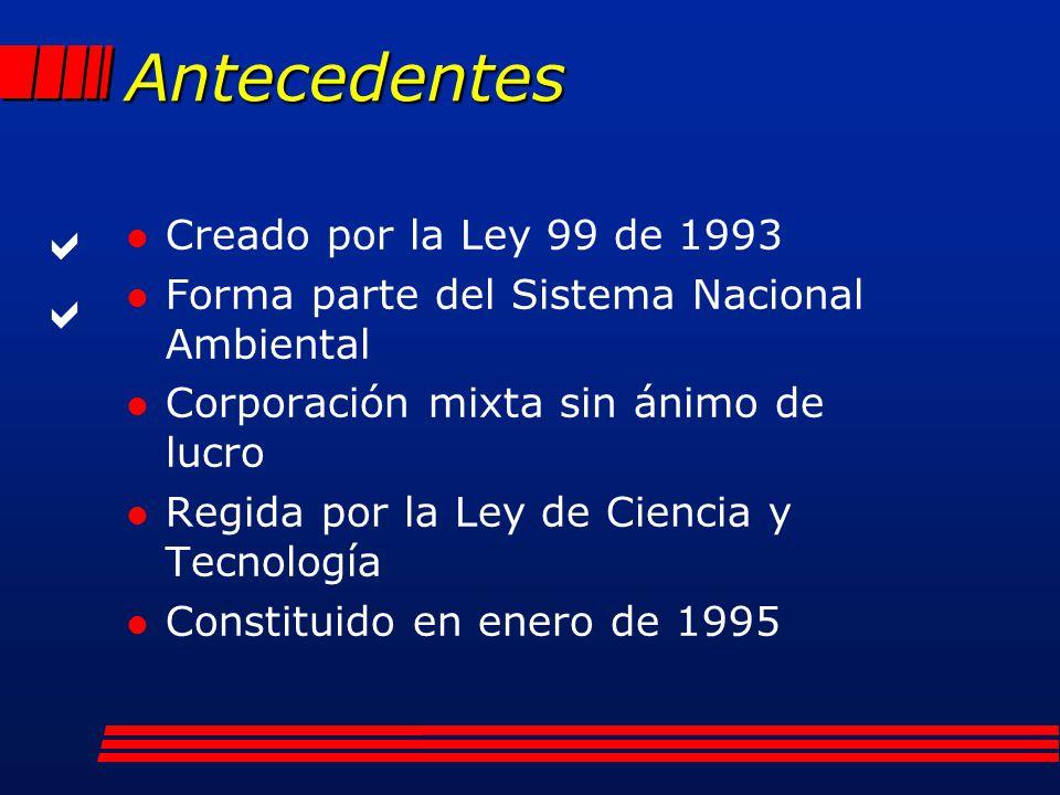 Antecedentes l Creado por la Ley 99 de 1993 l Forma parte del Sistema Nacional Ambiental l Corporación mixta sin ánimo de lucro l Regida por la Ley de