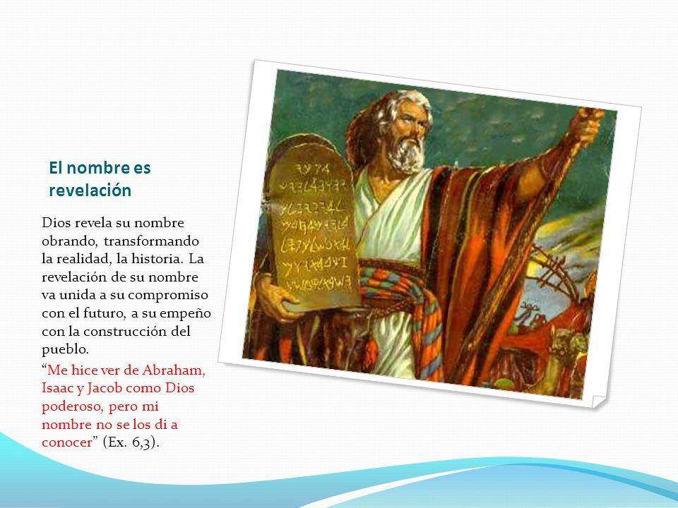 El nombre es revelación Dios revela su nombre obrando, transformando la realidad, la historia.