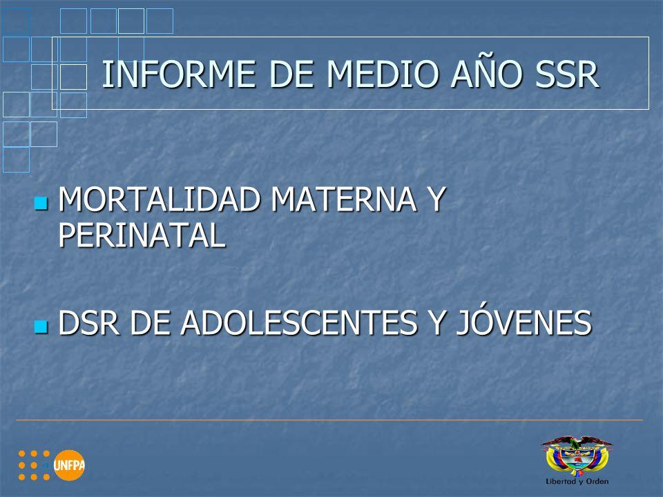 INFORME DE MEDIO AÑO SSR MORTALIDAD MATERNA Y PERINATAL MORTALIDAD MATERNA Y PERINATAL DSR DE ADOLESCENTES Y JÓVENES DSR DE ADOLESCENTES Y JÓVENES