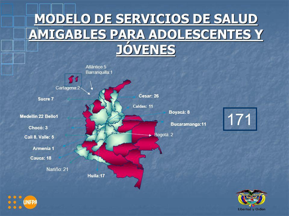 MODELO DE SERVICIOS DE SALUD AMIGABLES PARA ADOLESCENTES Y JÓVENES Medellín 22 Bello1 Cali 8.
