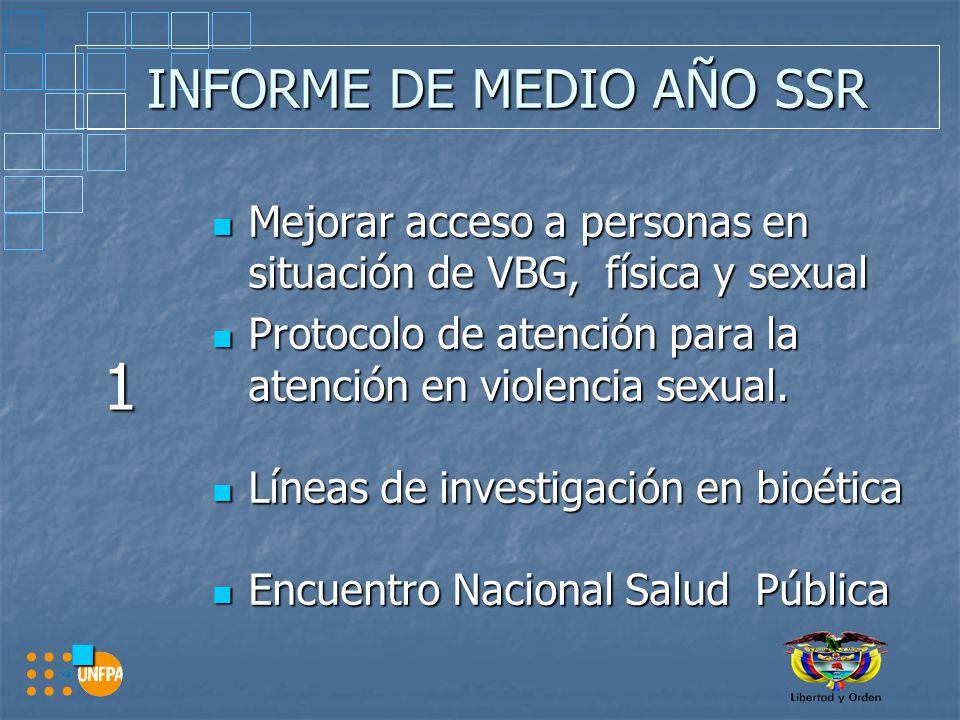 INFORME DE MEDIO AÑO SSR 1 Mejorar acceso a personas en situación de VBG, física y sexual Mejorar acceso a personas en situación de VBG, física y sexual Protocolo de atención para la atención en violencia sexual.