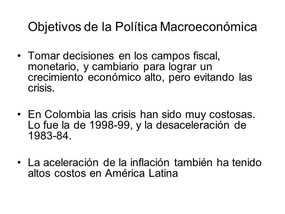 Objetivos de la Política Macroeconómica Tomar decisiones en los campos fiscal, monetario, y cambiario para lograr un crecimiento económico alto, pero evitando las crisis.