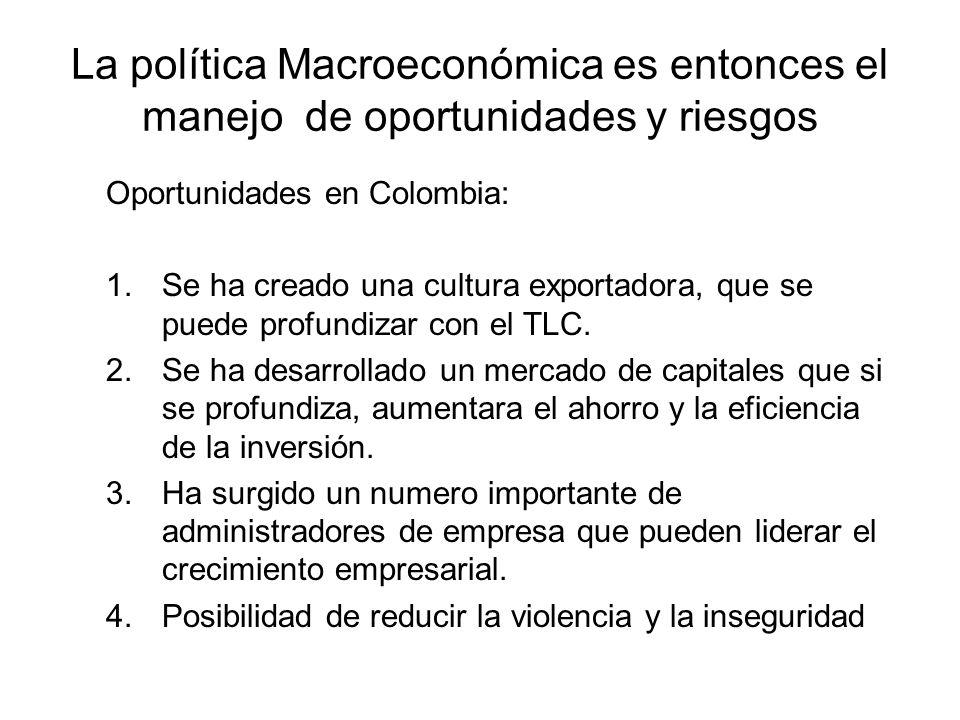 La política Macroeconómica es entonces el manejo de oportunidades y riesgos Oportunidades en Colombia: 1.Se ha creado una cultura exportadora, que se puede profundizar con el TLC.