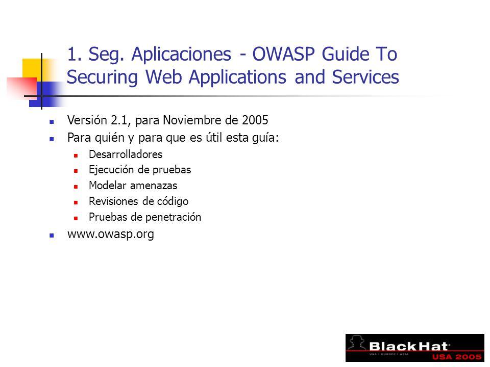 1. Seg. Aplicaciones - OWASP Guide To Securing Web Applications and Services Versión 2.1, para Noviembre de 2005 Para quién y para que es útil esta gu