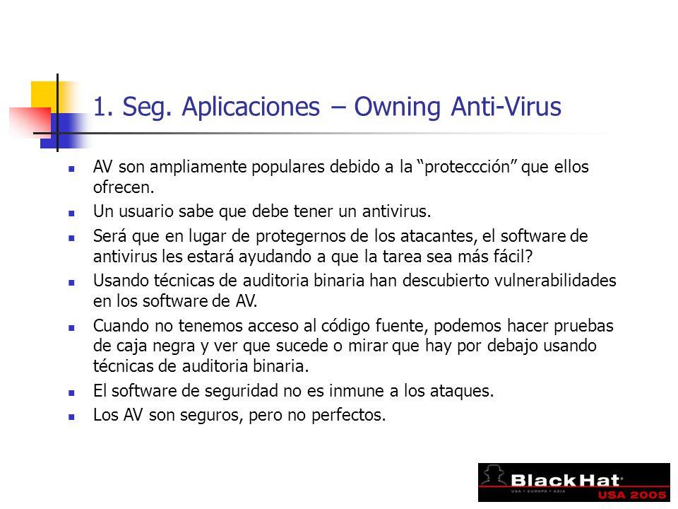 1. Seg. Aplicaciones – Owning Anti-Virus AV son ampliamente populares debido a la proteccción que ellos ofrecen. Un usuario sabe que debe tener un ant