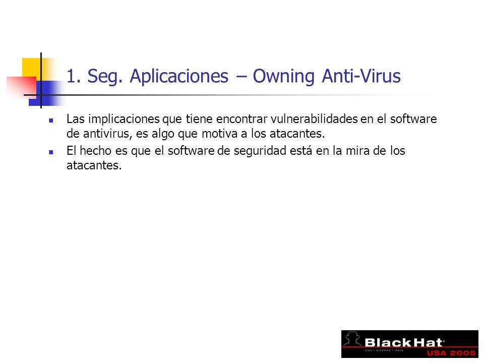 1. Seg. Aplicaciones – Owning Anti-Virus Las implicaciones que tiene encontrar vulnerabilidades en el software de antivirus, es algo que motiva a los